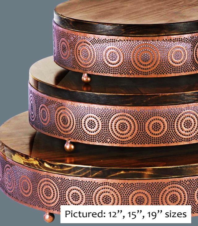 Where to find CAKE STAND COPPER WOOD 20  RND in Tacoma