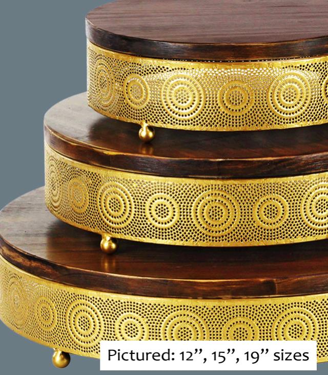 Where to find CAKE STAND GOLD WOOD 20  RND in Tacoma